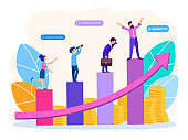 Vector illustration of business graphics, managers climb to the top of success