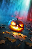 Halloween Pumpkins Glowing In Fantasy Night Forest