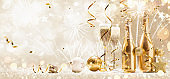 New Years Eve Celebration with Champagne and Confetti
