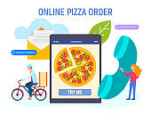 The cyclist delivers the pizza, the worker holds the phone, taking orders, symbolizing feedback online.