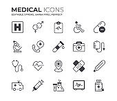 Medical Icons Set. Editable Stroke.