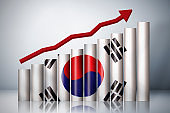 Rising graph about South Korea Stock Photo