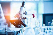 Medical laboratory microscope in chemistry biology lab test. Scientific research and development and healthcare concept background