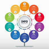 Business presentation or infographics concept with 10 options. Web Template of tree, info chart or diagram. Vector info graphic of technology or education process with 10 steps.