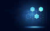Futuristic blue hexagon honeycomb abstract technology background. Artificial intelligence digital transformation and big data concept. Business quantum internet network communication concept