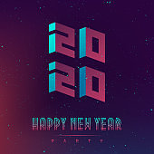 Happy New Year 2020 party. Futuristic design posters with abstract elements and gradients. Applicable for covers, placards, music posters, dj flyers and banner designs. 20 20.