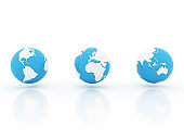 Globe with national borders on white background