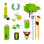 Set cartoon style icons of products of olives.