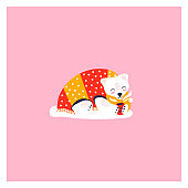 Icon of cute polar bear. Funny animal lies under the covers and drinks tea.