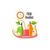 Design template card with fruit juice, pear, apple.