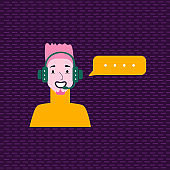 Cute avatar of smiling speaker with headphones, bubble. Stylish man talking.