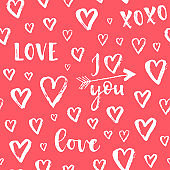 Vector fashion abstract seamless pattern with arrow, hearts on Happy Valentines Day. Cartoon doodle illustration background