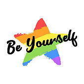 Be yourself text, slogan, quote. Gay and lesbian pride rainbow texture. Vector symbol of gay pride design element isolated on white background.