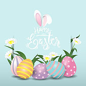 Happy easter eggs sweet and kid design background