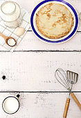 Cooking pancakes. Ingredients, crockery and kitchenware for pancakes.