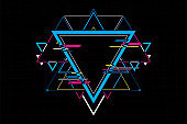 Abstract futuristic triangle shape connection.Future concept.vector and illustration