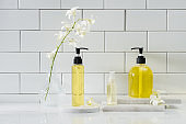 Spa set with white orchid, oil, salt