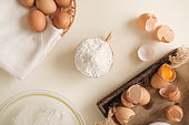 Flour, egg, milk. Ingredients for cooking flour products or dough close up