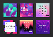 Set of modern sale banners. Trendy fluid gradient and liquid color backgrounds. Futuristic promo posters vector design.