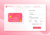Web site page with payment details information form ui design. Browser window with online store internet purchase.