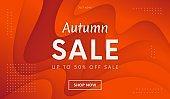 Abstract Autumn sale promo banner. Trendy liquid orange color background vector design.