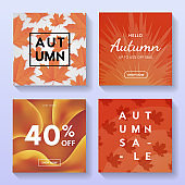 Set of abstract Autumn sale promo banners vector design. Fall discount,