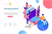 Online education. Background or homepage template with people studying remotely, flat style.
