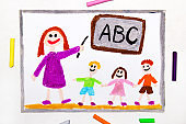 Colorful drawing: teacher and students in the classroom. Teaching children the alphabet