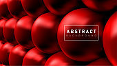 Creative abstract background with red glossy 3d balls.