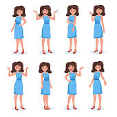 Silhouette of girl, woman. Set of human emoji. Female character isolated on white background.