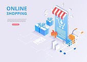 Online store, shopping, online payment. Homepage template with 3d smartphone, goods and shopping cart.