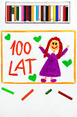 Colorful drawing: Polish happy Birthday Card with best wishes 100 YEARS
