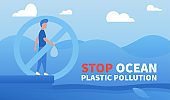 Stop ocean plastic pollution. Environmental protection, eco-friendly consumption.