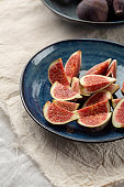 Sliced figs on plate