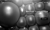 Web homepage template with grey abstract 3d balls pattern.