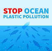 Stop ocean plastic pollution. Promo poster with fish and plastic bottle.