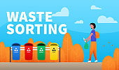 Waste sorting. Info poster with girl sorts rubbish in different trash cans.