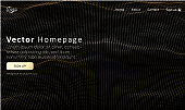 Web homepage template with buttons and golden abstract digital network pattern.