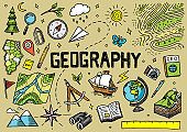 Set of geography symbols. Equipments for web banners. Vintage outline sketch for web banners. Doodle style. Education concept. Back to school background. Hand drawn style.