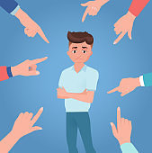 Man or boy is scolded, condemned, ordered. Upset or guilty person on blue background.