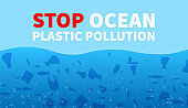 Stop ocean plastic pollution. Promotion banner with underwater rubbish.