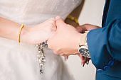 Bride and groom in wedding ceremony day