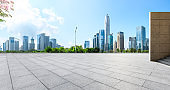 Empty square floor with panoramic city skyline in Shenzhen
