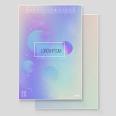 Furistic modern holographic cover set. 90s, 80s retro style. Hipster style graphic geometric holographic elements.