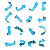 Blue ribbon  arrow set.  Arrow stickerst various angles and directions.