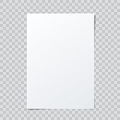 Vector blank paper mockup on abstract checkered background.