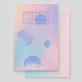 Holographic paper magic foil marble cover vector set. Minimalistic hipster design Iridescent graphic mockup for brochure, banner, wallpaper, mobile screen