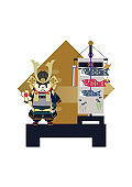 Illustration of Japanese festival. Seasonal holiday. Image of the May festival. Symbol of Japan's early summer event. Amulet doll for May festival.