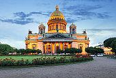 Saint Petersburg - Isaac cathedral at night, Russia.