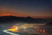 sunrise on Yangsuri with fog. Mountains in Seoul, South Korea.